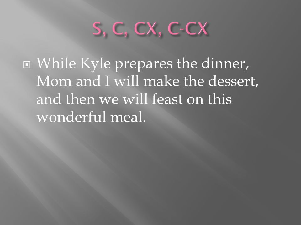  While Kyle prepares the dinner, Mom and I will make the dessert, and then we will feast on this wonderful meal.