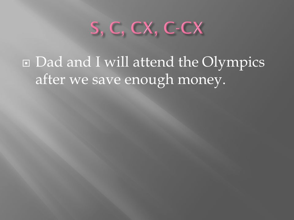  Dad and I will attend the Olympics after we save enough money.