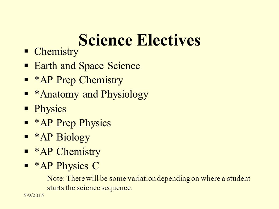 5/9/2015 Science Electives  Chemistry  Earth and Space Science  *AP Prep Chemistry  *Anatomy and Physiology  Physics  *AP Prep Physics  *AP Biology  *AP Chemistry  *AP Physics C Note: There will be some variation depending on where a student starts the science sequence.