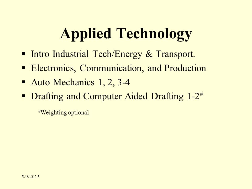 5/9/2015 Applied Technology  Intro Industrial Tech/Energy & Transport.
