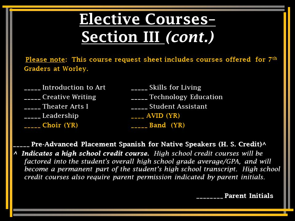 Part 4 Elective Courses 1. Number your electives by priority.