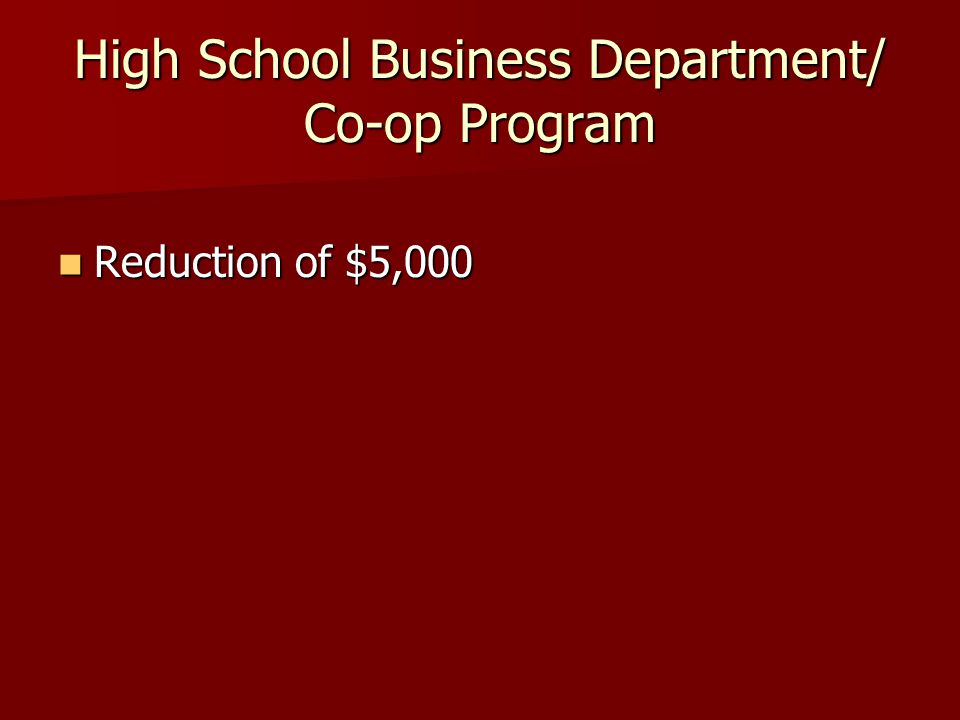 High School Business Department/ Co-op Program Reduction of $5,000 Reduction of $5,000