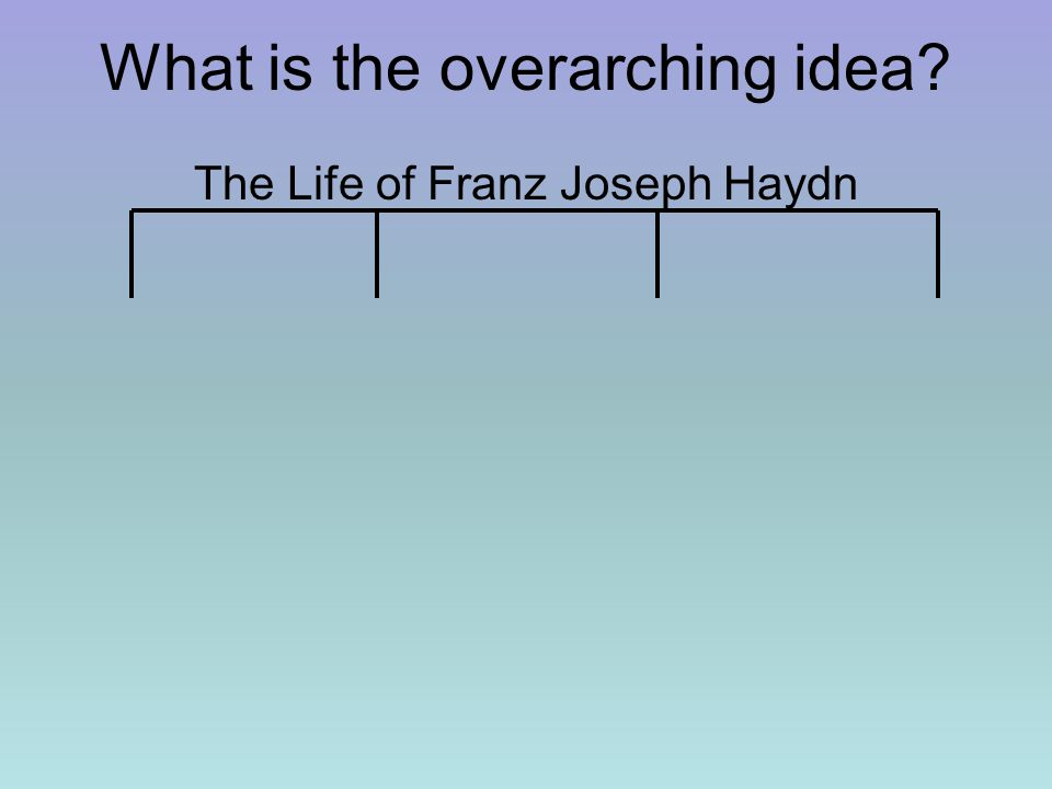 What is the overarching idea? The Life of Franz Joseph Haydn
