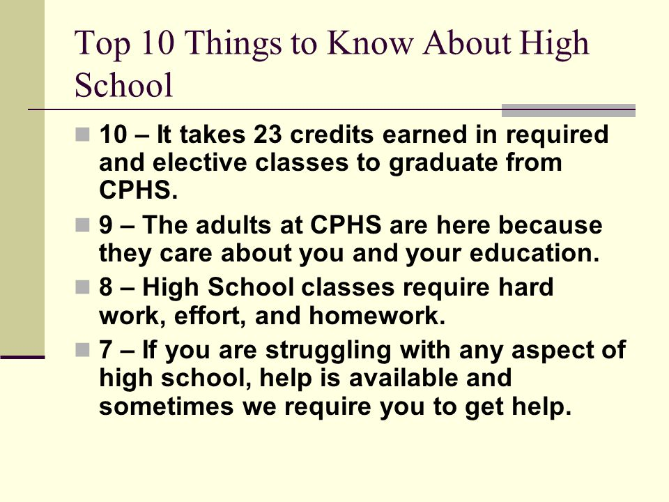 Top 10 Things to Know About High School 10 – It takes 23 credits earned in required and elective classes to graduate from CPHS.