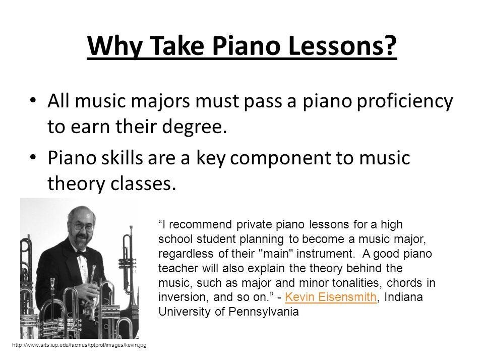 Why Take Private Lessons? Music schools are highly competitive and a successful music school audition can lead to a music scholarship. Your child's mu