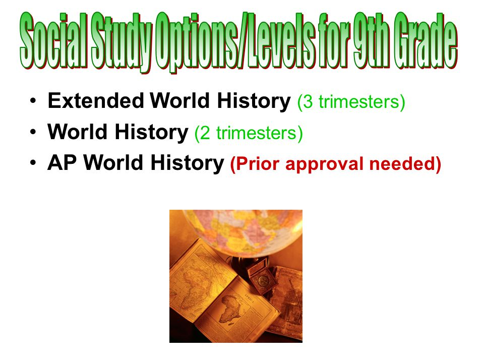 Extended World History (3 trimesters) World History (2 trimesters) AP World History (Prior approval needed)
