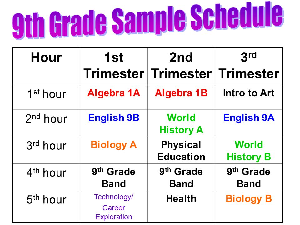 Hour1st Trimester 2nd Trimester 3 rd Trimester 1 st hour Algebra 1AAlgebra 1BIntro to Art 2 nd hour English 9BWorld History A English 9A 3 rd hour Biology APhysical Education World History B 4 th hour 9 th Grade Band 5 th hour Technology/ Career Exploration HealthBiology B