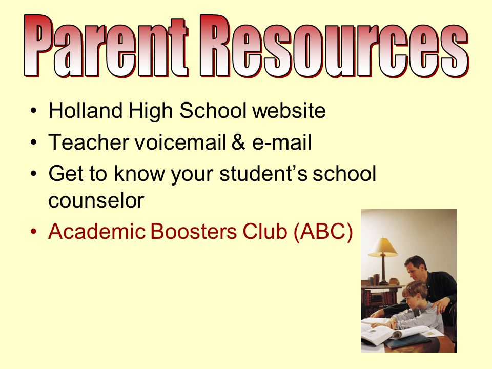 Holland High School website Teacher voicemail & e-mail Get to know your student's school counselor Academic Boosters Club (ABC)