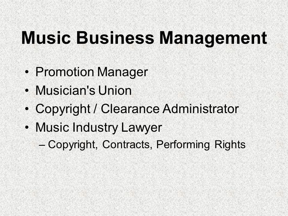 Music Business Management Promotion Manager Musician's Union Copyright / Clearance Administrator Music Industry Lawyer –Copyright, Contracts, Performi
