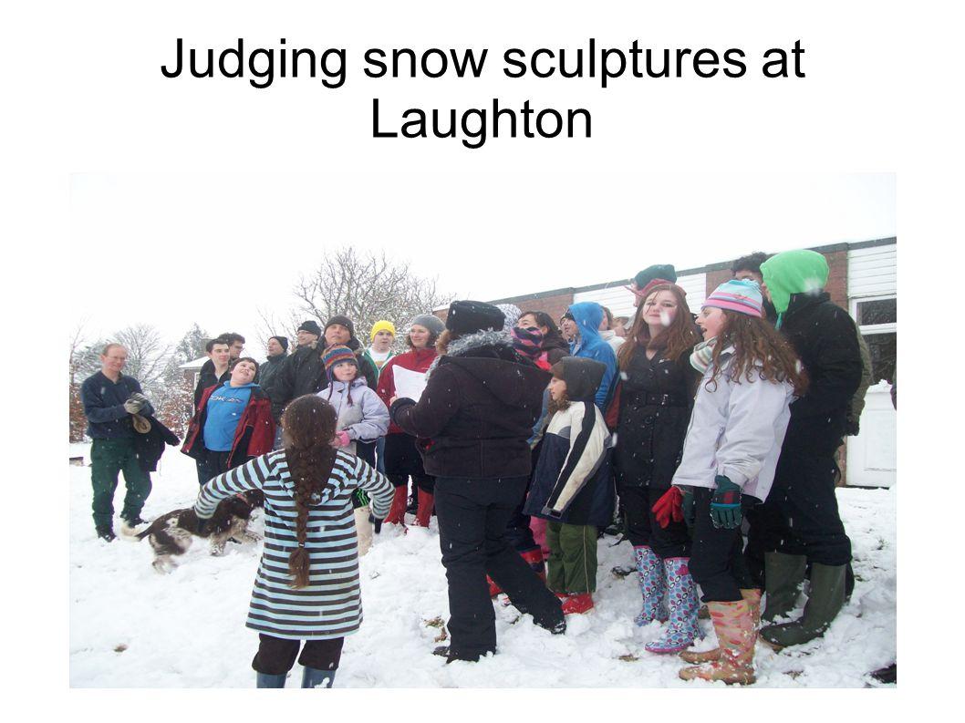 Judging snow sculptures at Laughton