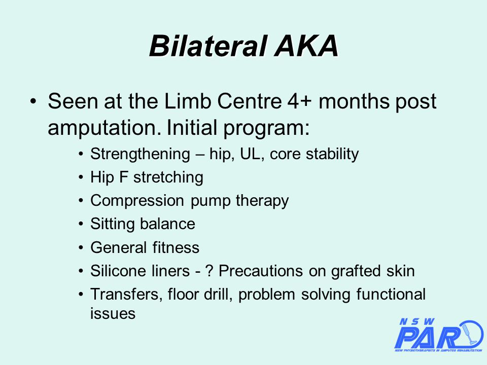 Bilateral AKA Seen at the Limb Centre 4+ months post amputation.