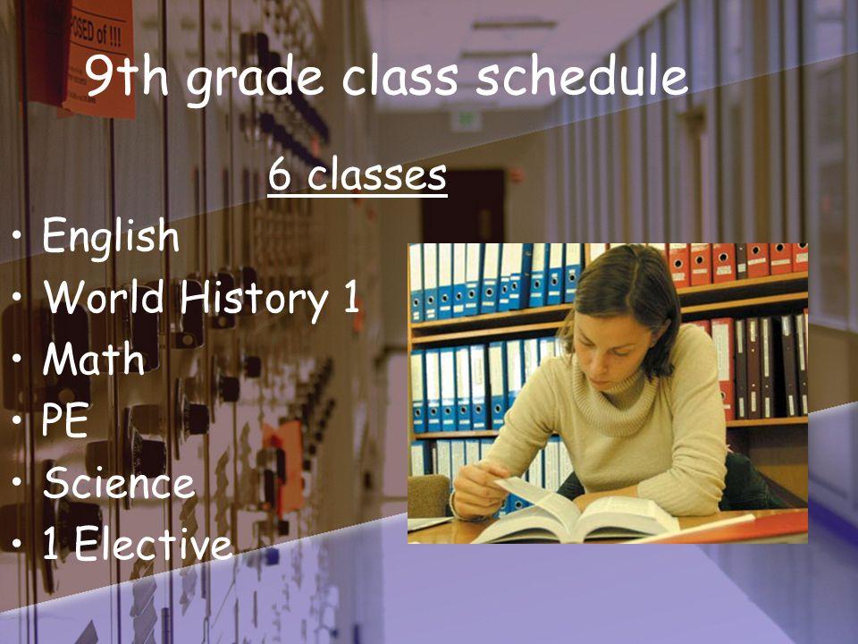 9th grade class schedule 6 classes English World History 1 Math PE Science 1 Elective