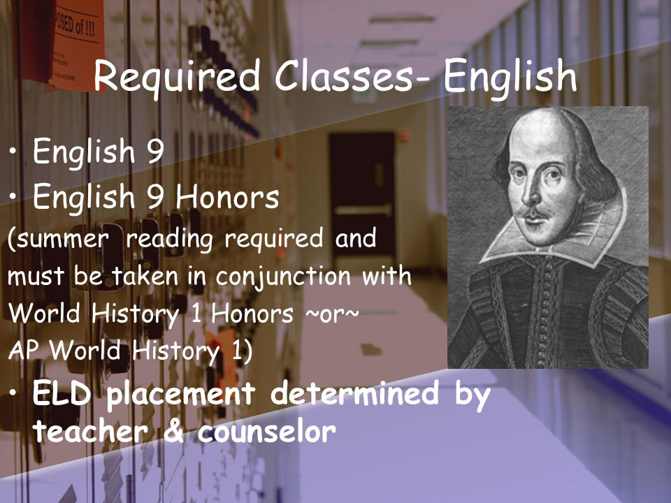 Required Classes- History World History 1 World History 1 Honors* AP World History 1* (*World History 1 ~or~ AP World History 1 Honors must be taken in conjunction with English 9 Honors)