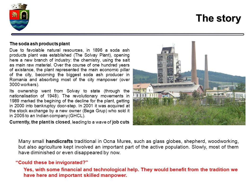 The story The soda ash products plant Due to favolable natural resources, in 1896 a soda ash products plant was established (The Solvay Plant), openin