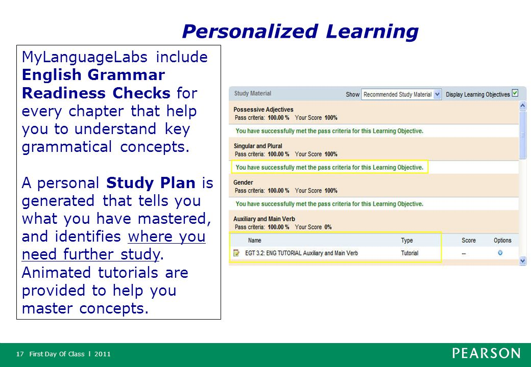 First Day Of Class l 201117 MyLanguageLabs include English Grammar Readiness Checks for every chapter that help you to understand key grammatical concepts.