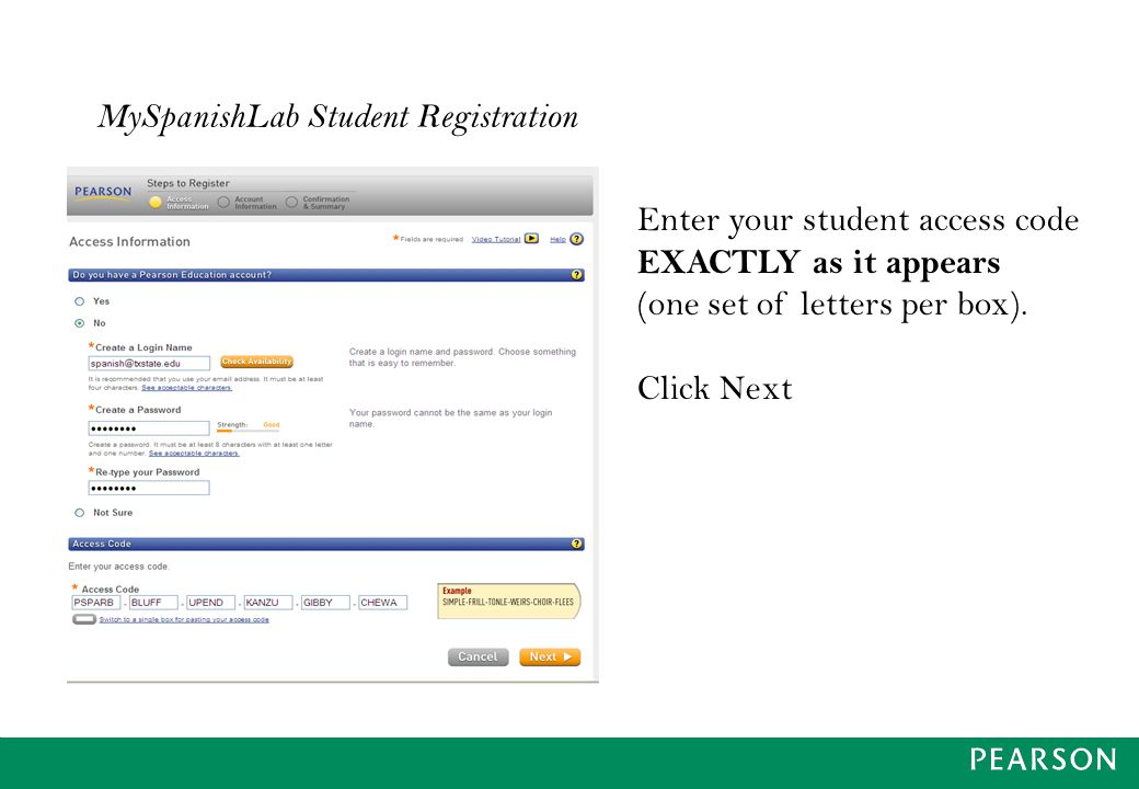 MySpanishLab Student Registration Enter your student access code EXACTLY as it appears (one set of letters per box).