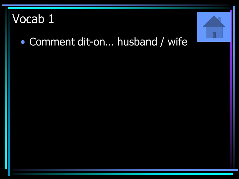 Vocab 1 Comment dit-on… husband / wife