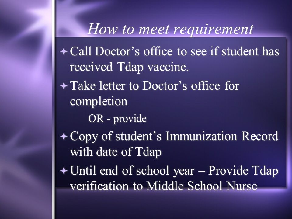 Tdap Vaccine Tetanus, Diphtheria & Pertussis  Ohio Department of Health 7 th grade requirement.  Due to increase in outbreaks of Pertussis also know