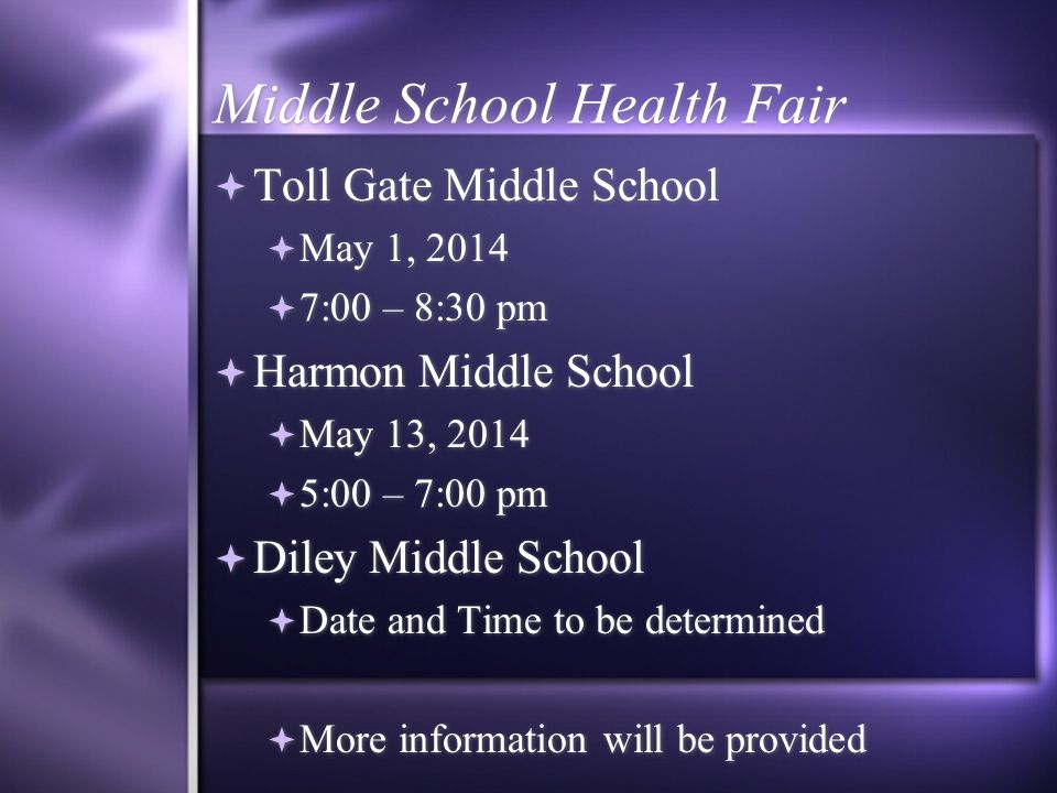 Opportunities to receive Tdap  Middle School Health Fair  Franklin County Public Health will be offering FREE Tdap vaccine  Middle School Health Fa