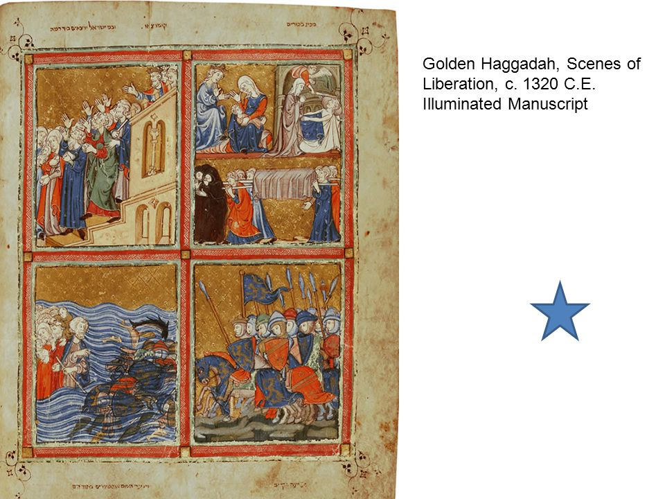 Golden Haggadah, Preparation for Passover, c. 1320 C.E. Illuminated Manuscript