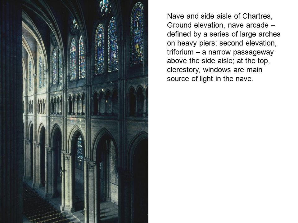 Rose window and lancets on the north transept, rose window measures over 42 feet, lancets are taller and thinner than west portal lancets, Virgin and Christ in center circle, surrounded by 12 smaller circles, 4 doves, 8 angels; 12 squares with the 12 Old Test.