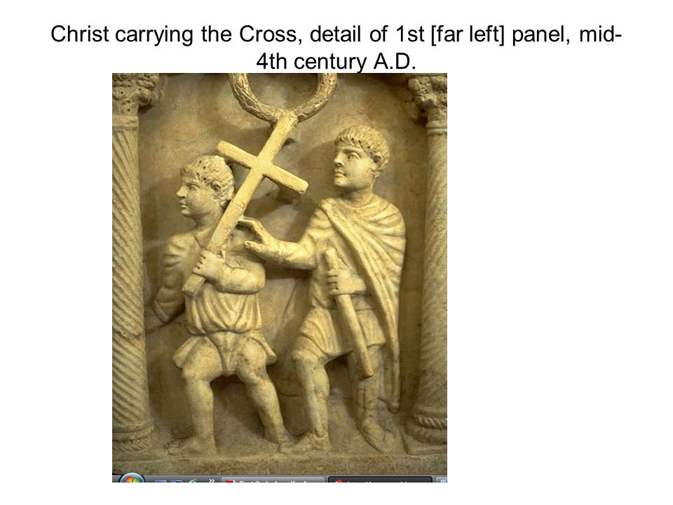 Christ carrying the Cross, detail of 1st [far left] panel, mid- 4th century A.D.
