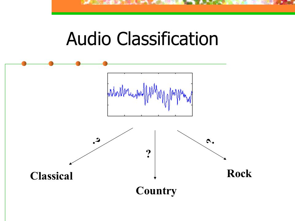 Audio Classification ? ? ? Classical Country Rock