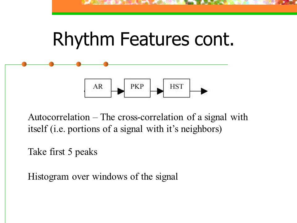 Rhythm Features cont.Autocorrelation – The cross-correlation of a signal with itself (i.e.