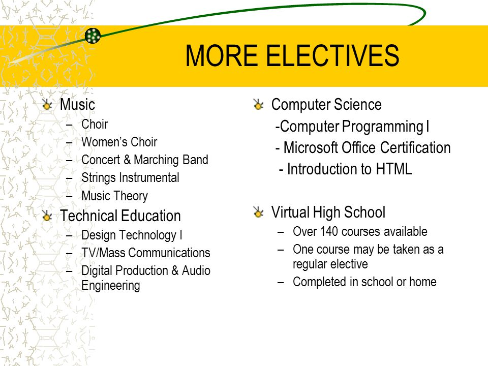 MORE ELECTIVES Music –Choir –Women's Choir –Concert & Marching Band –Strings Instrumental –Music Theory Technical Education –Design Technology I –TV/Mass Communications –Digital Production & Audio Engineering Computer Science -Computer Programming I - Microsoft Office Certification - Introduction to HTML Virtual High School –Over 140 courses available –One course may be taken as a regular elective –Completed in school or home