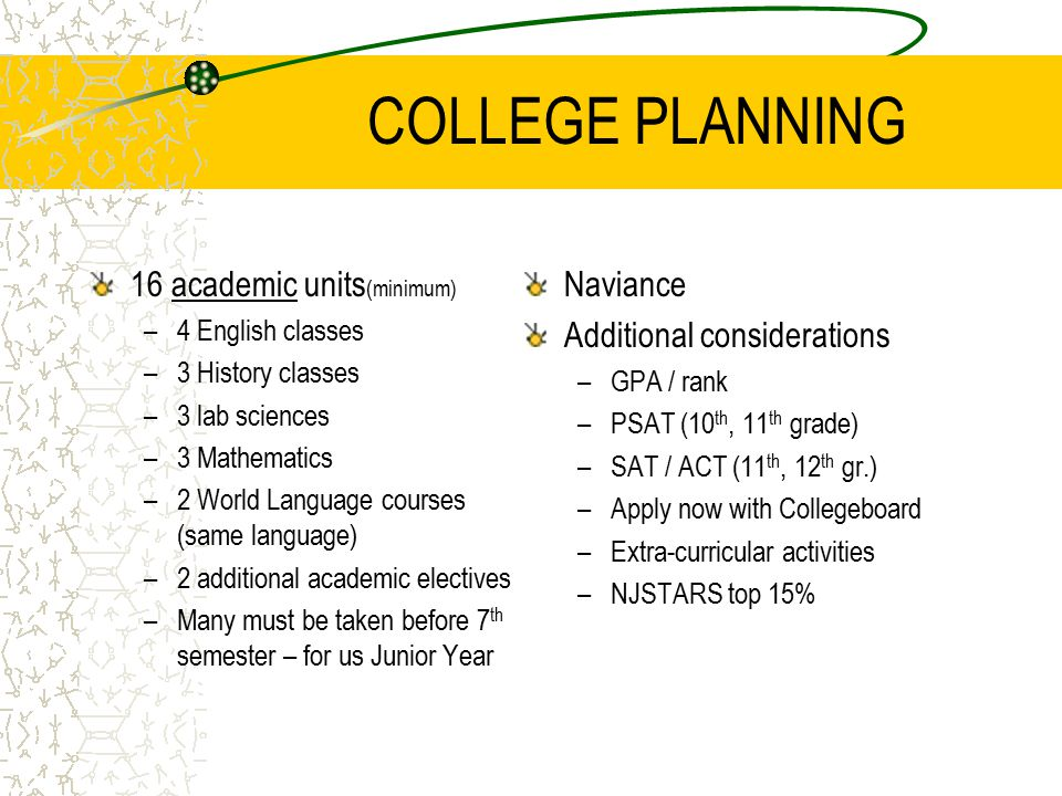 COLLEGE PLANNING 16 academic units (minimum) –4 English classes –3 History classes –3 lab sciences –3 Mathematics –2 World Language courses (same language) –2 additional academic electives –Many must be taken before 7 th semester – for us Junior Year Naviance Additional considerations –GPA / rank –PSAT (10 th, 11 th grade) –SAT / ACT (11 th, 12 th gr.) –Apply now with Collegeboard –Extra-curricular activities –NJSTARS top 15%
