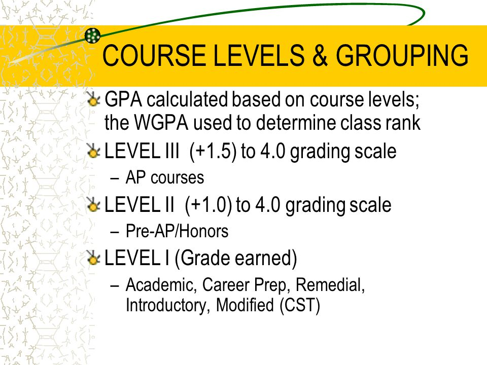 COURSE LEVELS & GROUPING GPA calculated based on course levels; the WGPA used to determine class rank LEVEL III (+1.5) to 4.0 grading scale –AP courses LEVEL II (+1.0) to 4.0 grading scale –Pre-AP/Honors LEVEL I (Grade earned) –Academic, Career Prep, Remedial, Introductory, Modified (CST)