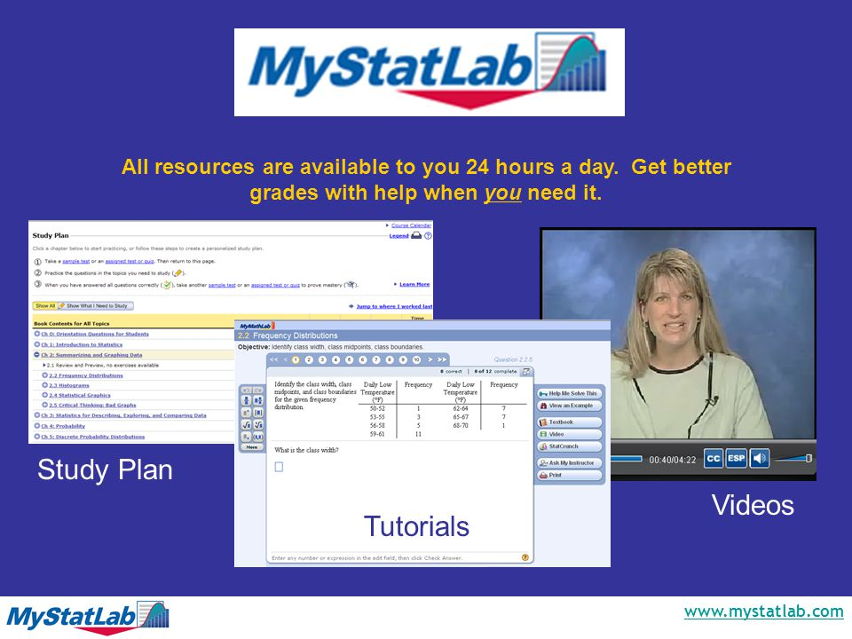 www.mystatlab.com All resources are available to you 24 hours a day.