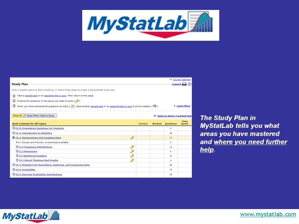 www.mystatlab.com The Study Plan in MyStatLab tells you what areas you have mastered and where you need further help.