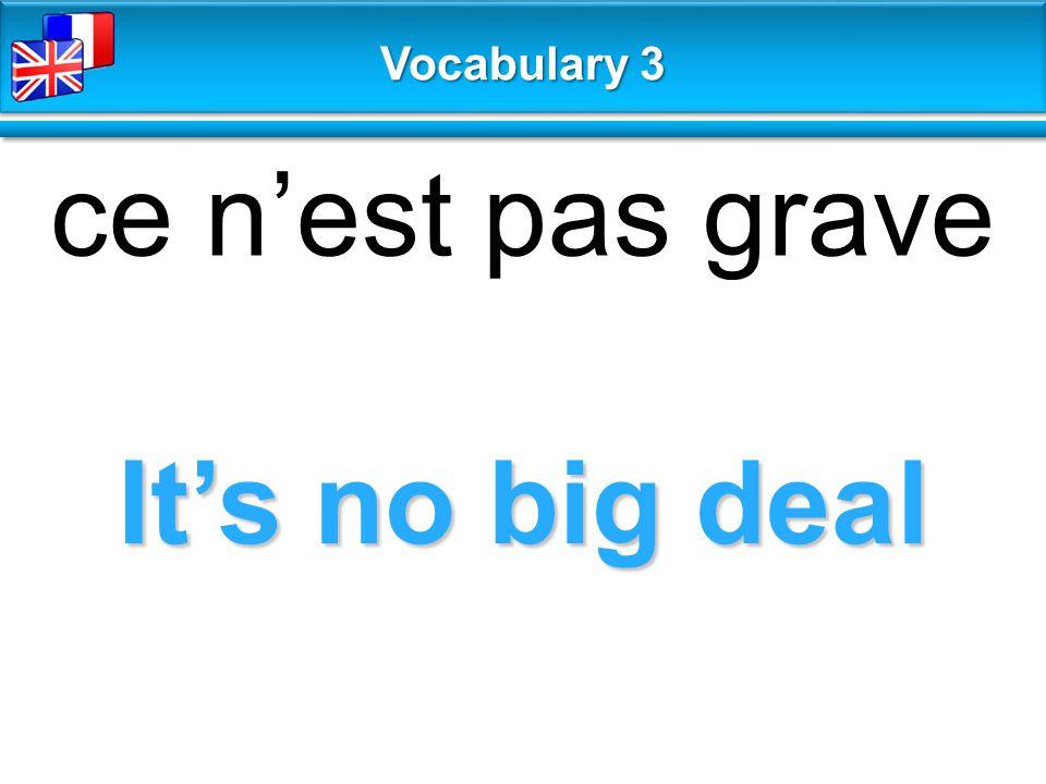 It's no big deal ce n'est pas grave Vocabulary 3