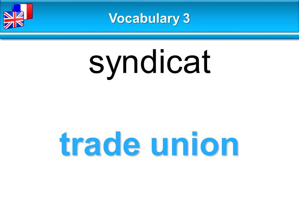 trade union syndicat Vocabulary 3