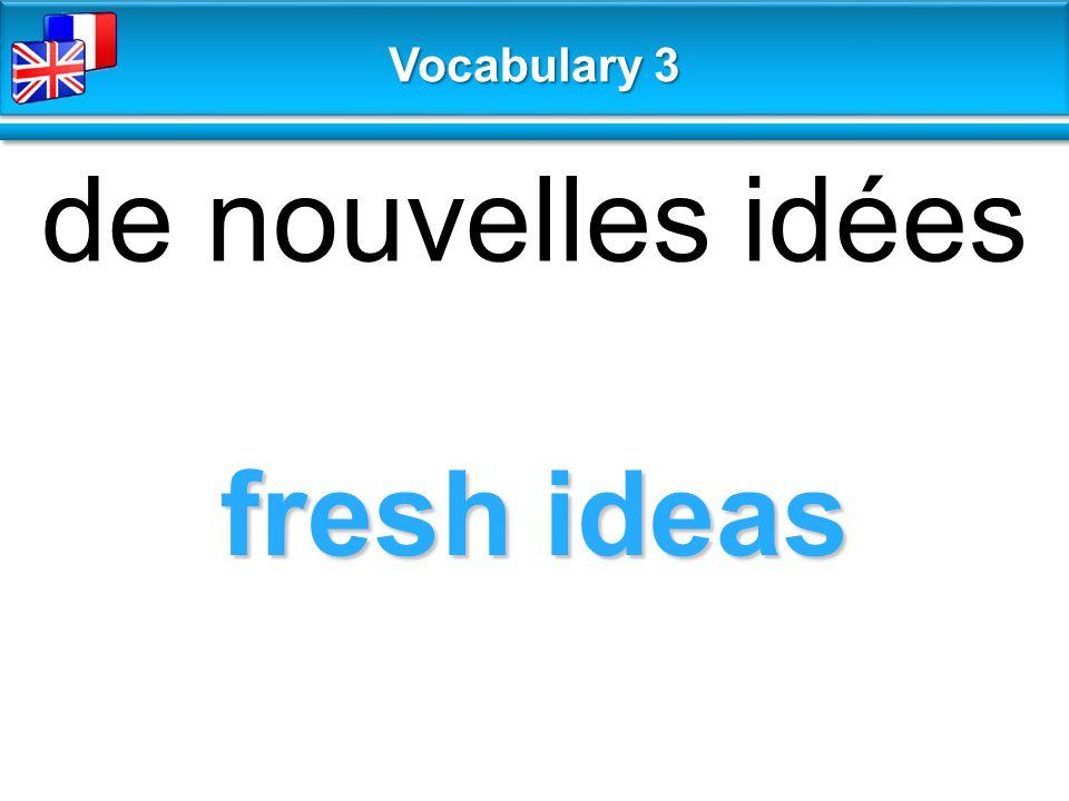 fresh ideas de nouvelles idées Vocabulary 3