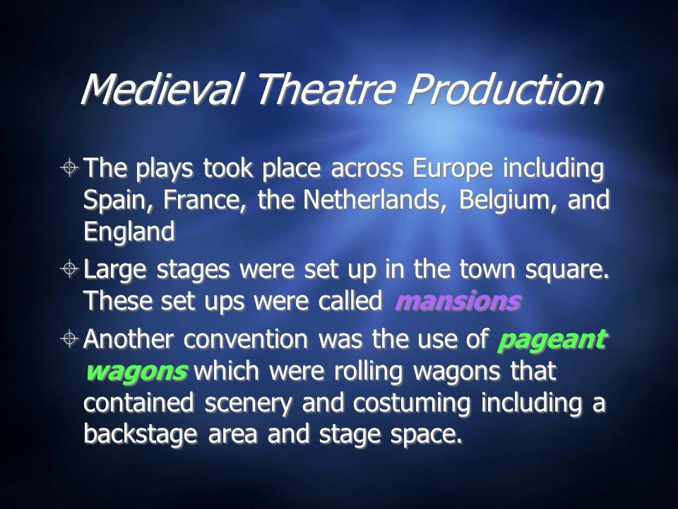 Medieval Theatre Production  The plays took place across Europe including Spain, France, the Netherlands, Belgium, and England  Large stages were set up in the town square.
