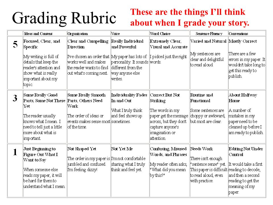 Grading Rubric These are the things I'll think about when I grade your story.