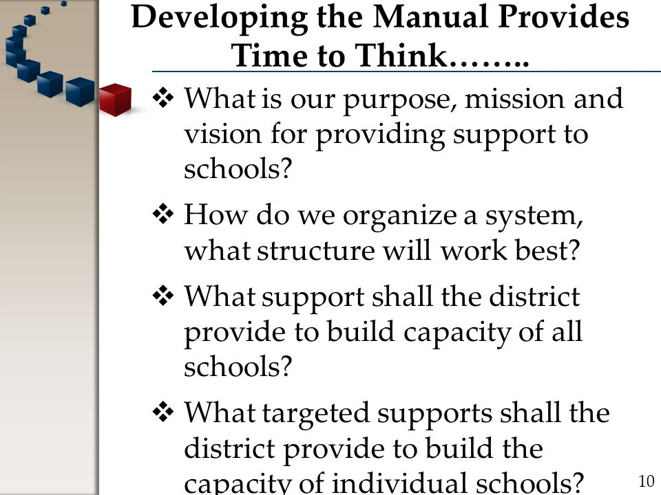Developing the Manual Provides Time to Think……..  What is our purpose, mission and vision for providing support to schools?  How do we organize a sy