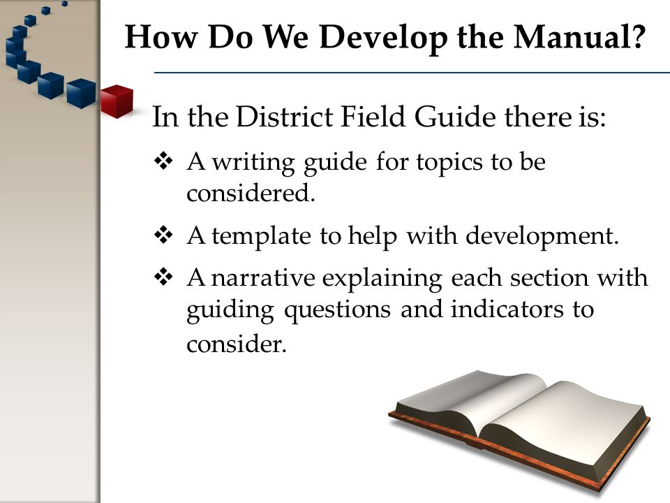 Tools to Help Develop the Manual Narrative Directions, descriptions, and hints to help you in completing the section.
