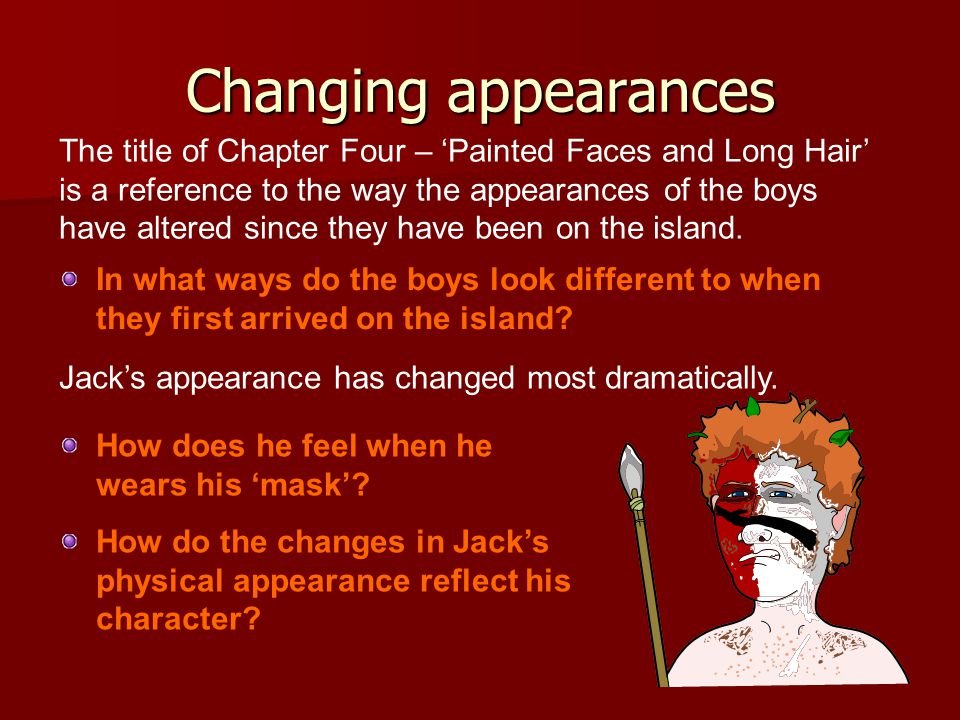 The title of Chapter Four – 'Painted Faces and Long Hair' is a reference to the way the appearances of the boys have altered since they have been on the island.
