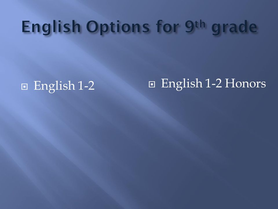  English 1-2  English 1-2 Honors