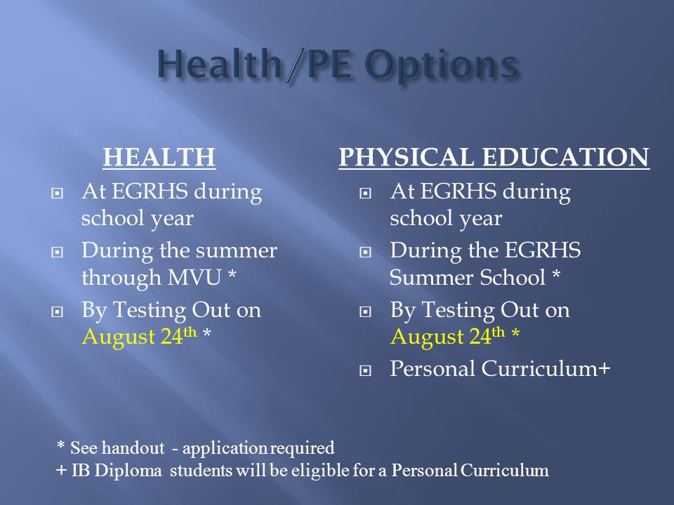 HEALTH PHYSICAL EDUCATION  At EGRHS during school year  During the summer through MVU *  By Testing Out on August 24 th *  At EGRHS during school