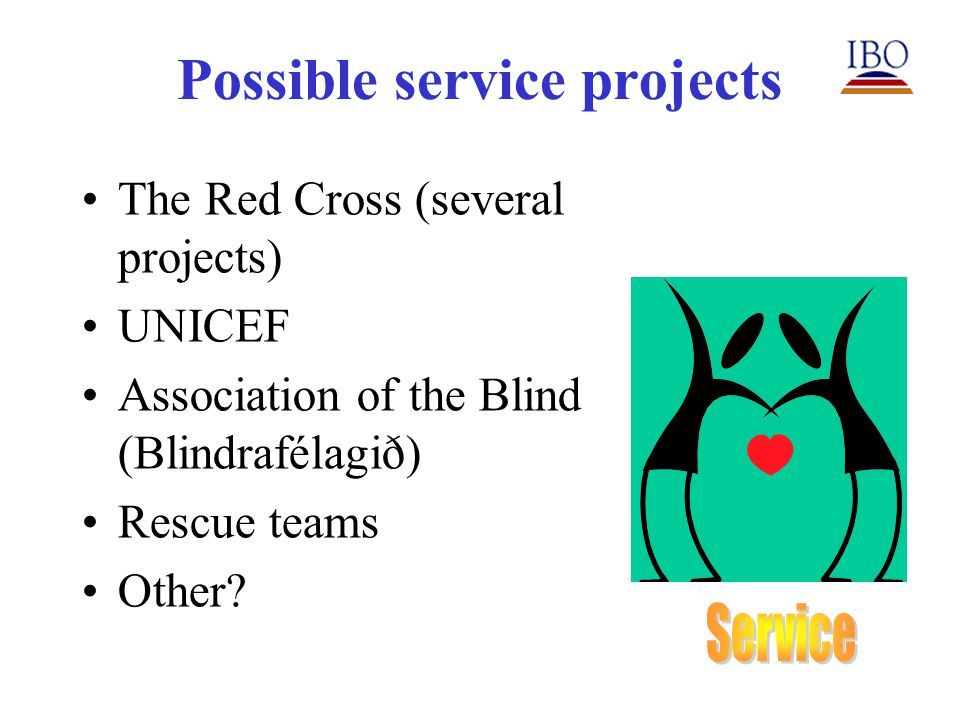 Possible service projects The Red Cross (several projects) UNICEF Association of the Blind (Blindrafélagið) Rescue teams Other?