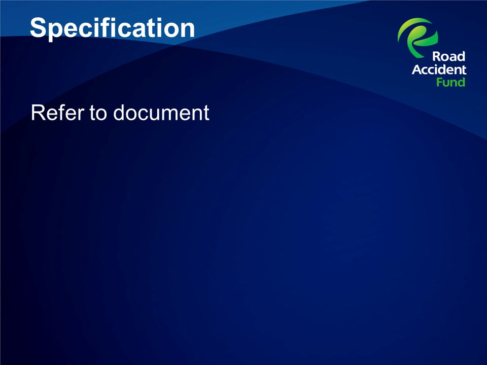 Specification Refer to document