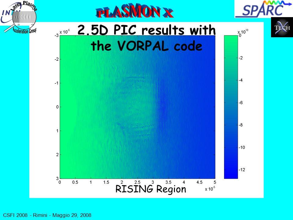 CSFI 2008 - Rimini - Maggio 29, 2008 2.5D PIC results with the VORPAL code RISING Region
