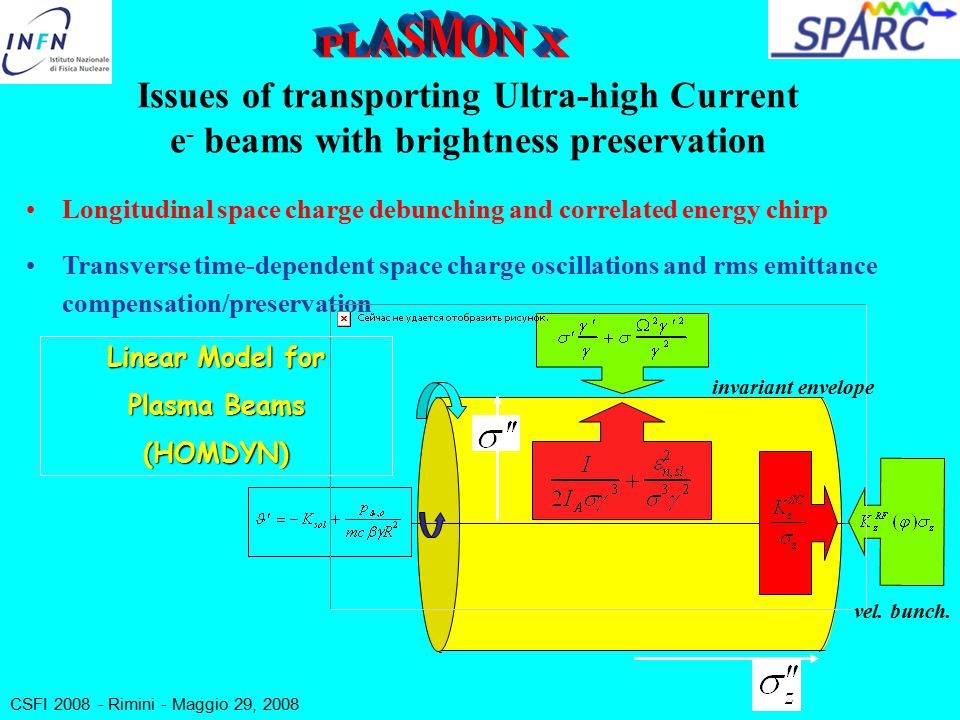 CSFI 2008 - Rimini - Maggio 29, 2008 Issues of transporting Ultra-high Current e - beams with brightness preservation Longitudinal space charge debunching and correlated energy chirp Transverse time-dependent space charge oscillations and rms emittance compensation/preservation Linear Model for Plasma Beams (HOMDYN) invariant envelope vel.