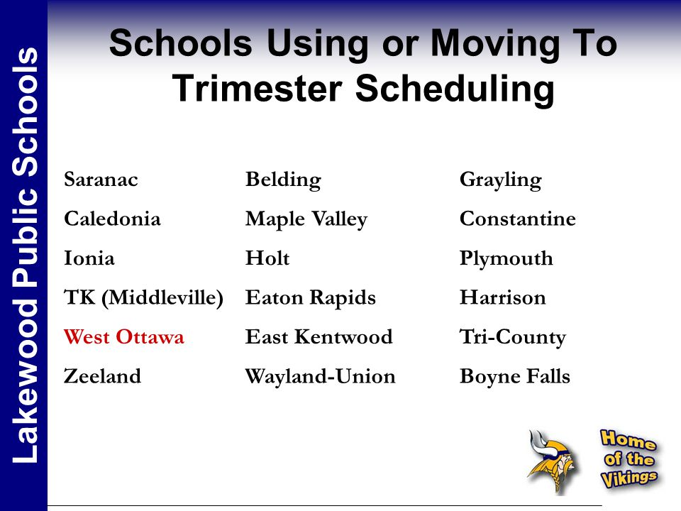 Schools Using or Moving To Trimester Scheduling Lakewood Public Schools SaranacBeldingGrayling CaledoniaMaple ValleyConstantine IoniaHoltPlymouth TK (