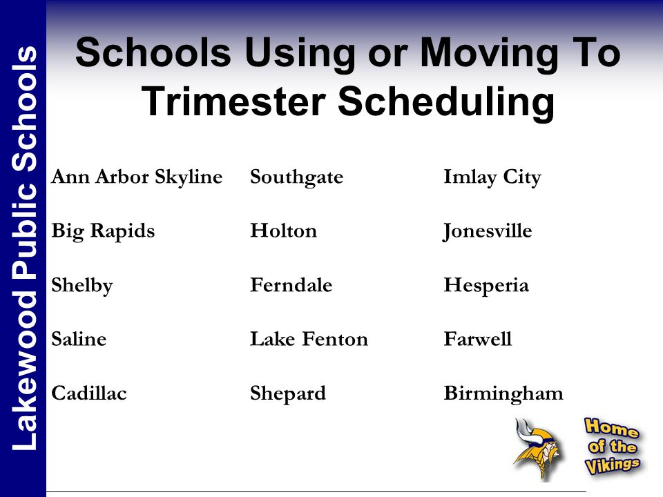 Schools Using or Moving To Trimester Scheduling Lakewood Public Schools Ann Arbor SkylineSouthgateImlay City Big RapidsHoltonJonesville ShelbyFerndaleHesperia SalineLake FentonFarwell CadillacShepardBirmingham