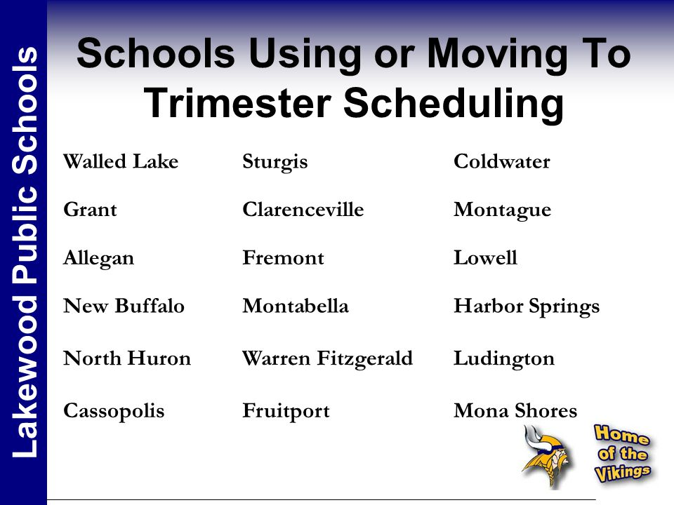 Schools Using or Moving To Trimester Scheduling Lakewood Public Schools Walled LakeSturgisColdwater GrantClarencevilleMontague AlleganFremontLowell New BuffaloMontabellaHarbor Springs North HuronWarren FitzgeraldLudington CassopolisFruitportMona Shores